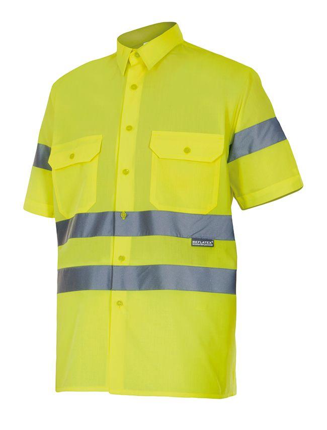 Camisas reflectante velilla manga corta alta visibilidad 141 de algodon con impresión vista 1
