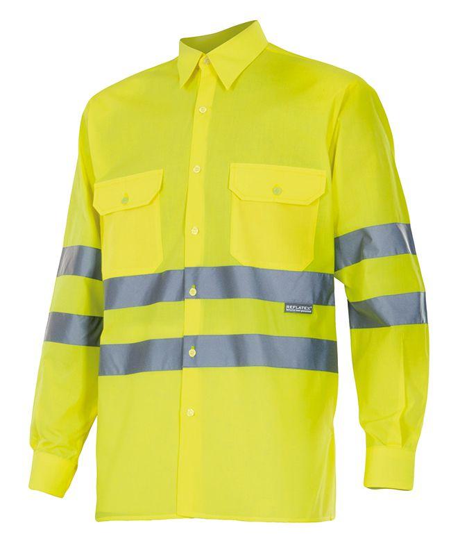 Camisas reflectante velilla ml alta visibilidad de algodon con impresión vista 1