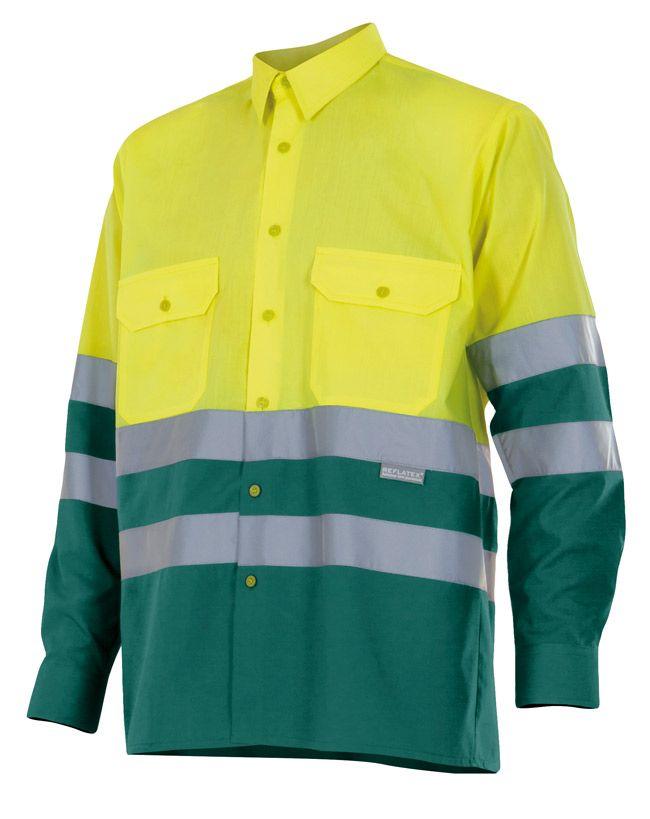 Camisas reflectante velilla bicolor manga larga alta visibilidad 144 de algodon con impresión vista 1