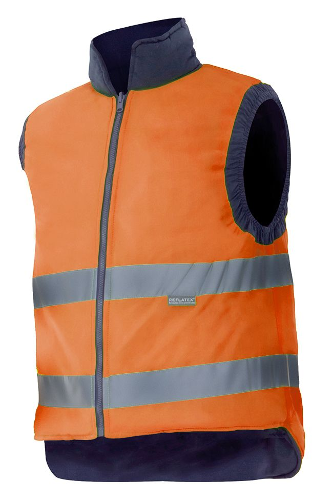 Chalecos reflectantes velilla acolchado reversible alta visibilidad de poliéster con logo imagen 1