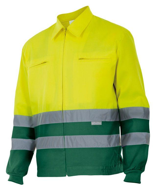 Chaquetas reflectantes velilla bicolor alta visibilidad 153 de algodon con impresión vista 1