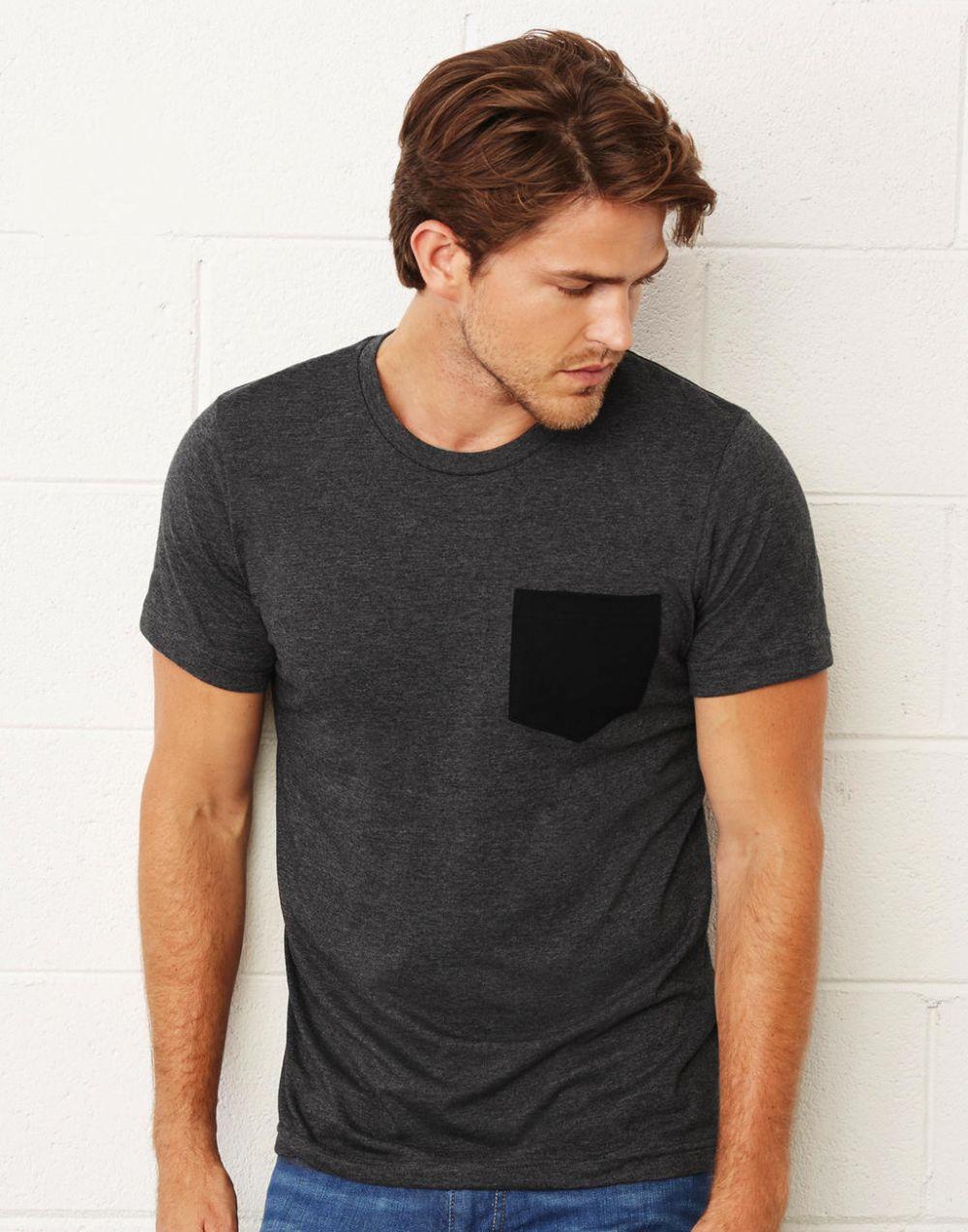 Camisetas manga corta bella con bolsillo hombre para personalizar vista 2