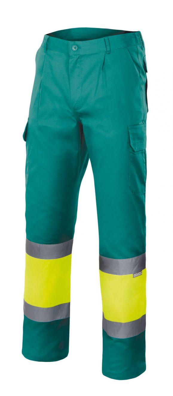 Pantalones reflectantes velilla multibolsillos bicolor alta visibilidad de algodon con logo imagen 1
