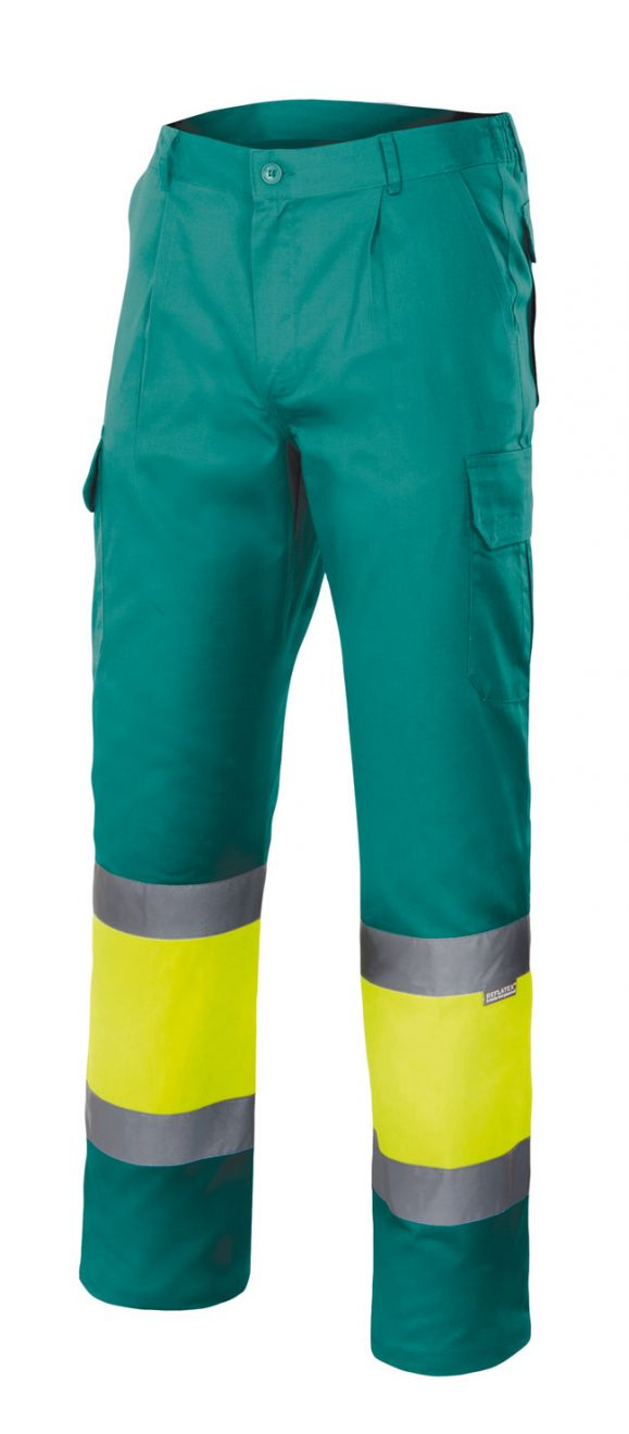Pantalones reflectantes velilla multibolsillos bicolor alta visibilidad de algodon vista 1