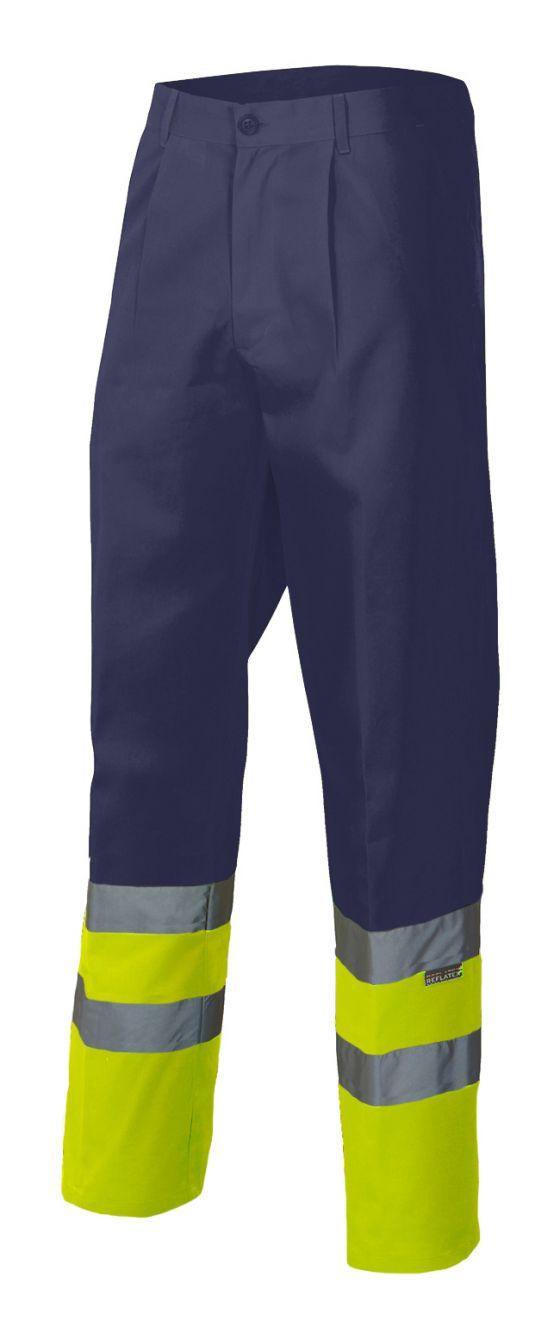 Pantalones reflectantes velilla bicolor alta visibilidad bolsillo en pierna derecha de algodon vista 1