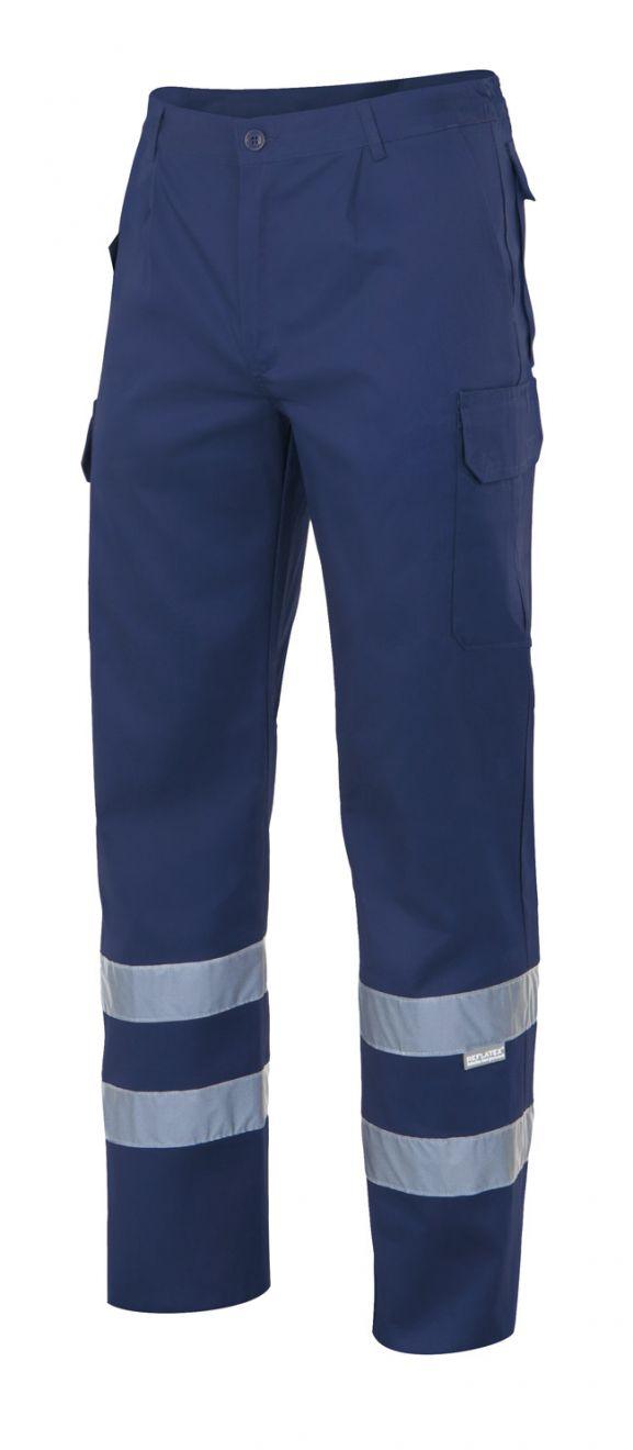 Pantalones reflectantes velilla con cintas multibolsillos de algodon vista 1