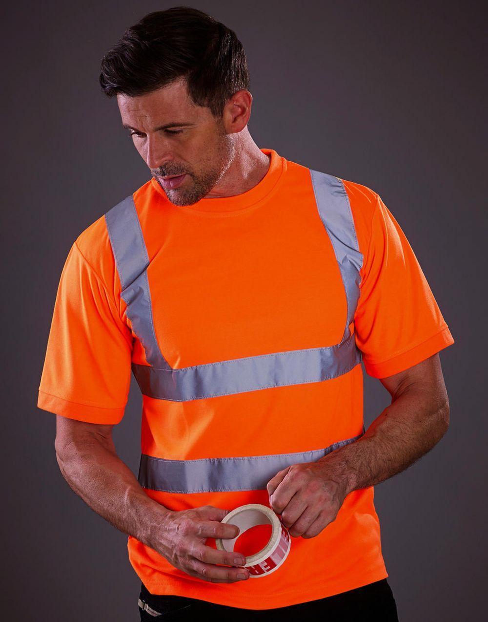 Camisetas reflectantes yoko fluo con logo vista 1