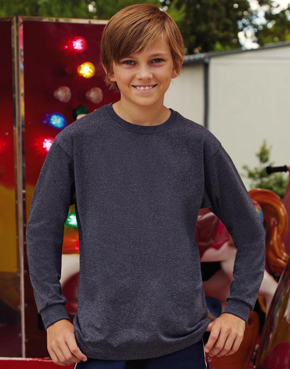 Camisetas personalizadas fruit of the loom valueweight manga larga niño vista 1