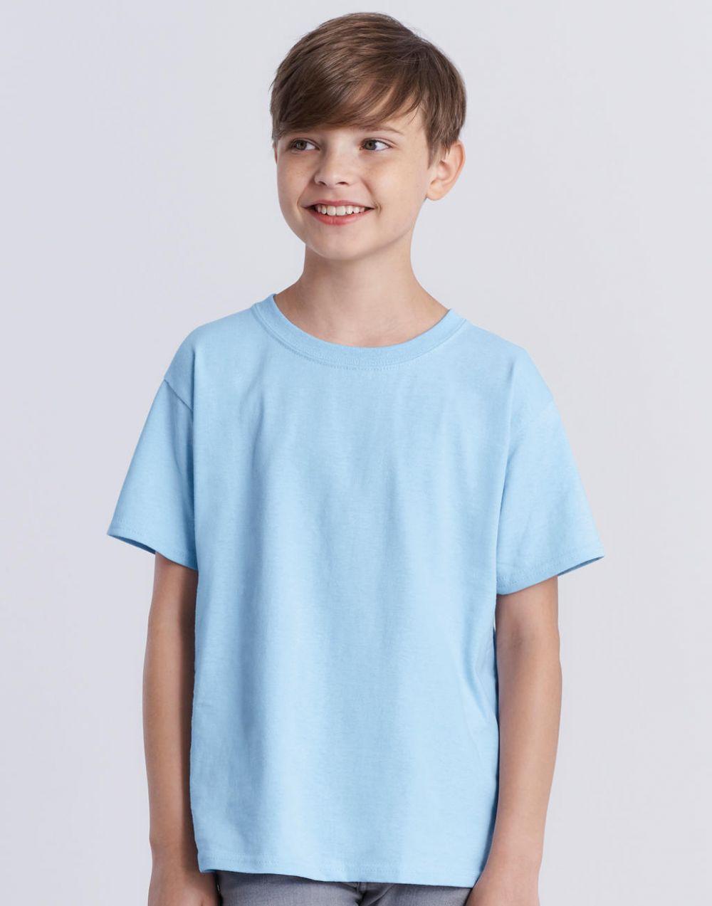 Camisetas manga corta gildan heavy niño con logo vista 1