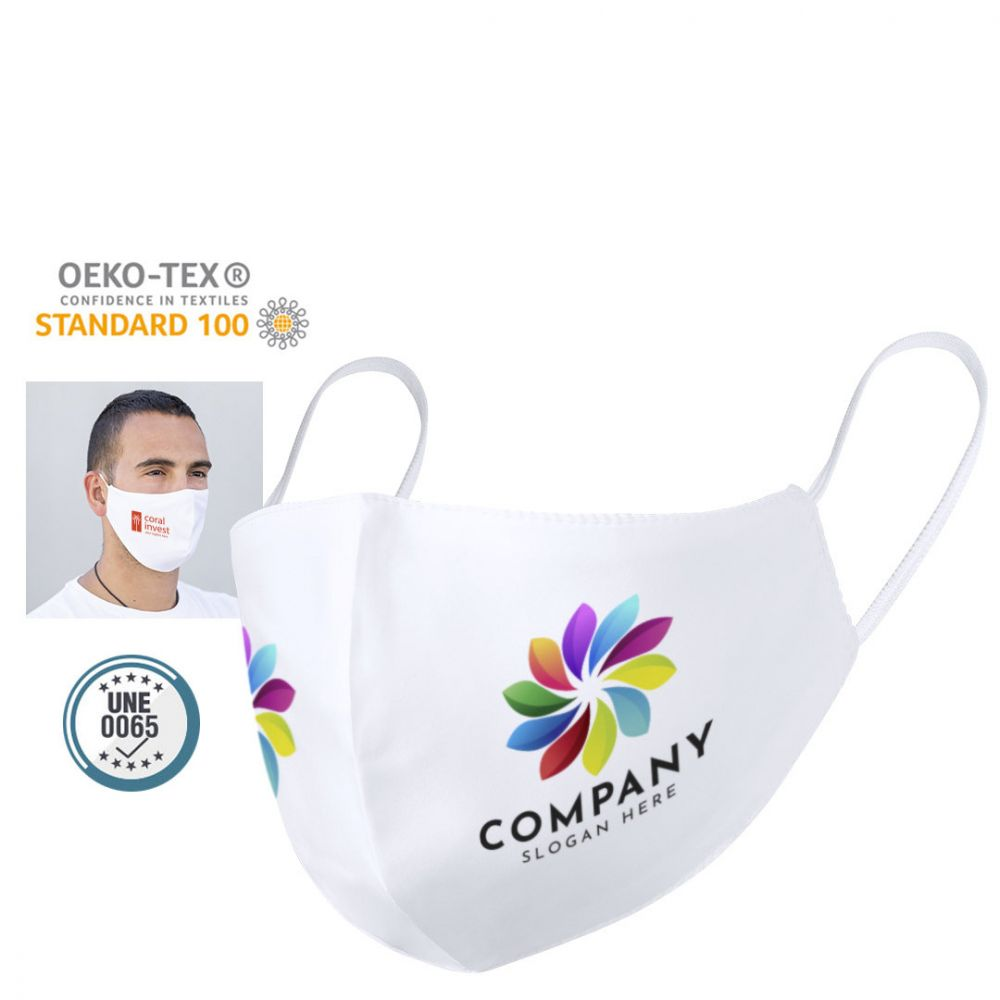 Seguridad covid mascarilla higiénica reutilizable leik de poliéster con logo vista 1