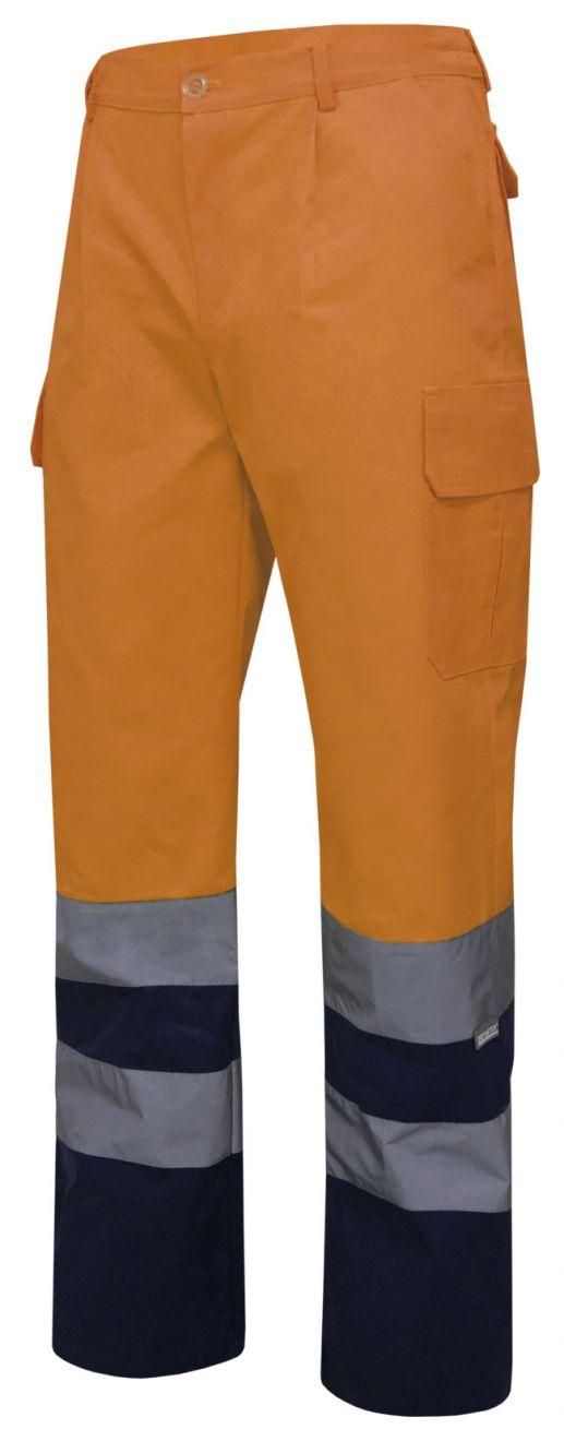 Pantalones reflectantes velilla bicolor multibolsillos alta visibilidad de algodon vista 1