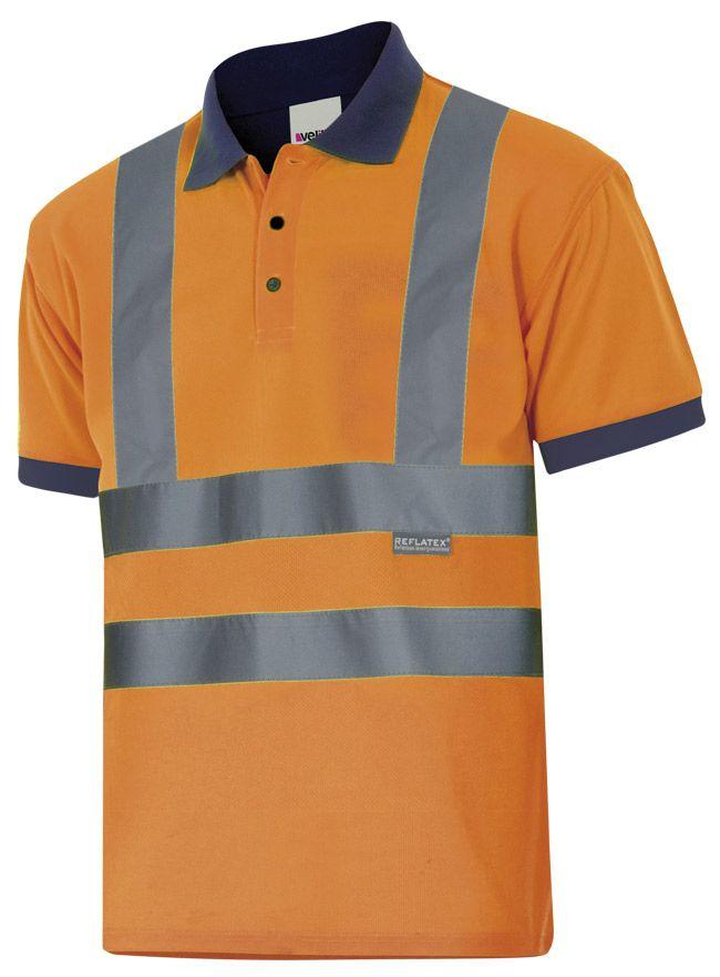 Polos reflectantes velilla bicolor manga corta alta visibilidad cintas en hombros de poliéster vista 1