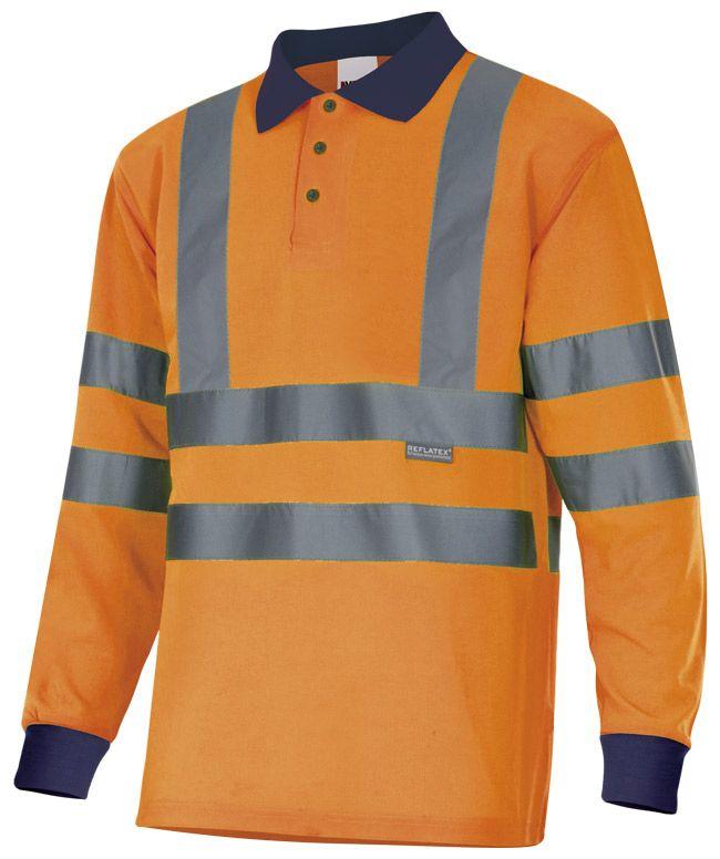Polos reflectantes velilla bicolor manga larga alta visibilidad cintas en hombros de poliéster imagen 1