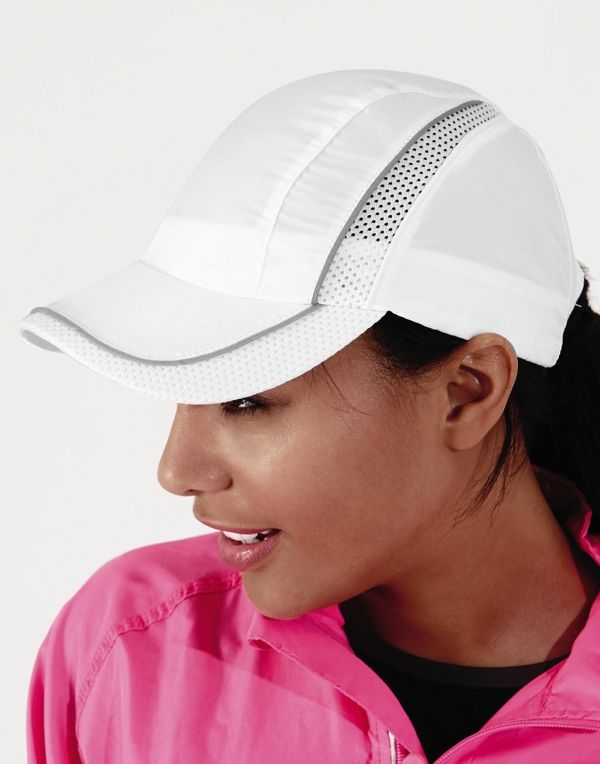 Gorras deportivas beechfield con malla coolmax® con publicidad vista 1