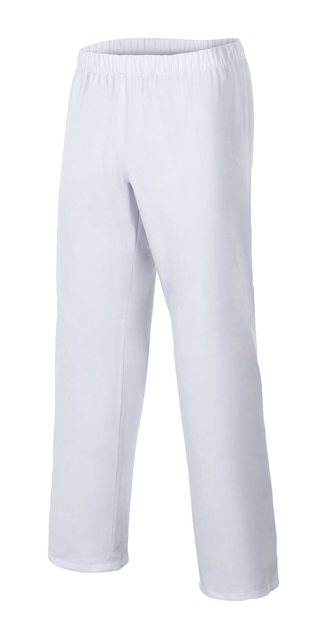 Pantalones sanitarios velilla pijama blanco con cinturilla elástica de algodon vista 1