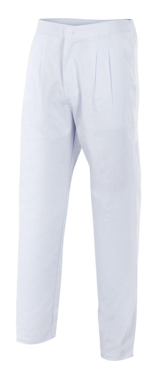 Pantalones sanitarios velilla pijama blanco con botón de algodon vista 1