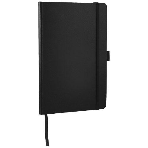 Libretas con banda elastica flex office de cartón con publicidad vista 1