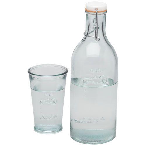 Vasos cocina of water with a glass de vidrio ecológico con publicidad vista 1