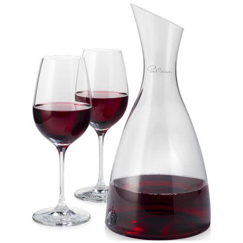 Accesorios vino decantador con 2 copas de vino prestige de vidrio con publicidad imagen 1