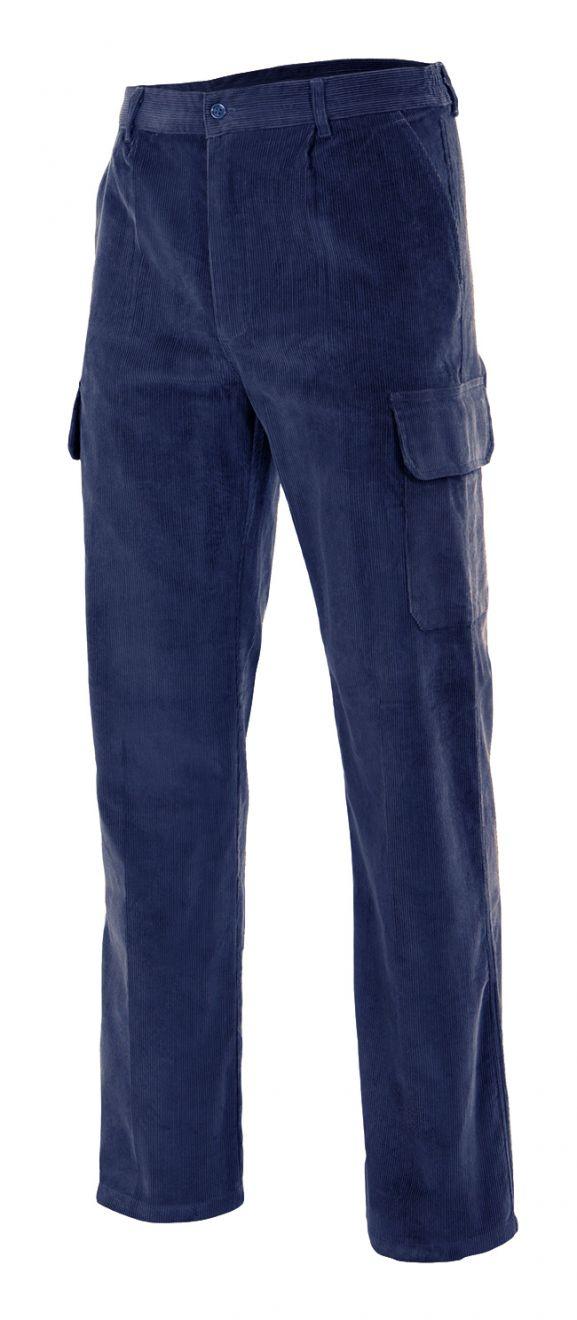 Pantalones de trabajo velilla pana multibolsillos de 100% algodón para personalizar vista 1