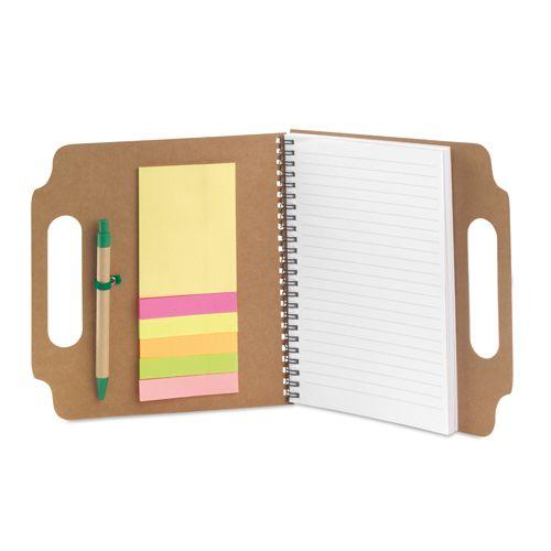 Notas adhesivas makron de cartón ecológico con logo vista 1