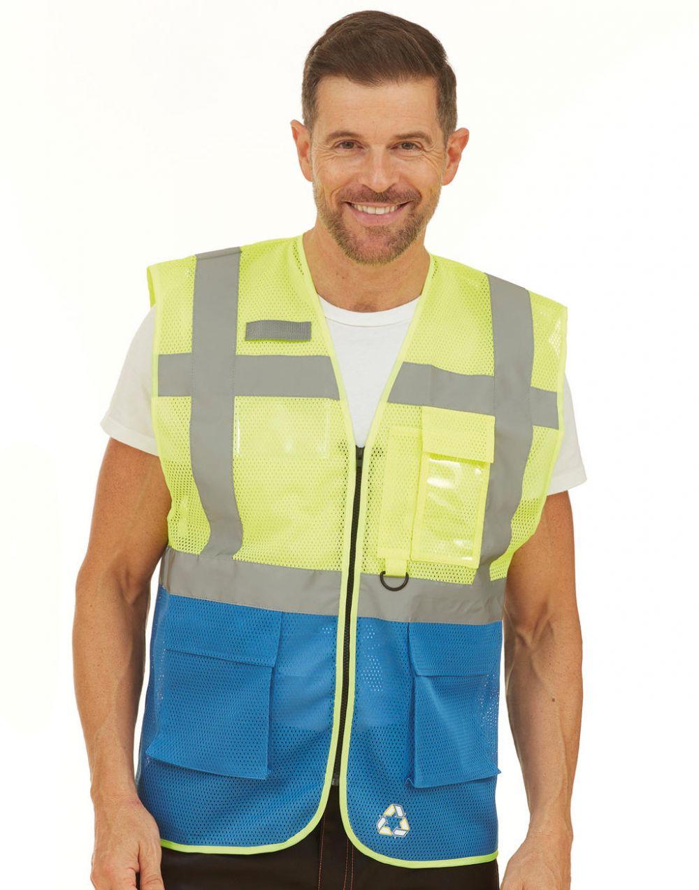 Chalecos reflectantes personalizados yoko fluo executive para personalizar vista 1