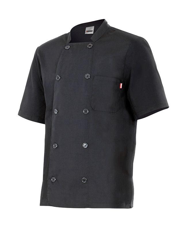 Chaquetas de cocinero velilla de cocina manga corta doble abotonadura de algodon para personalizar vista 1
