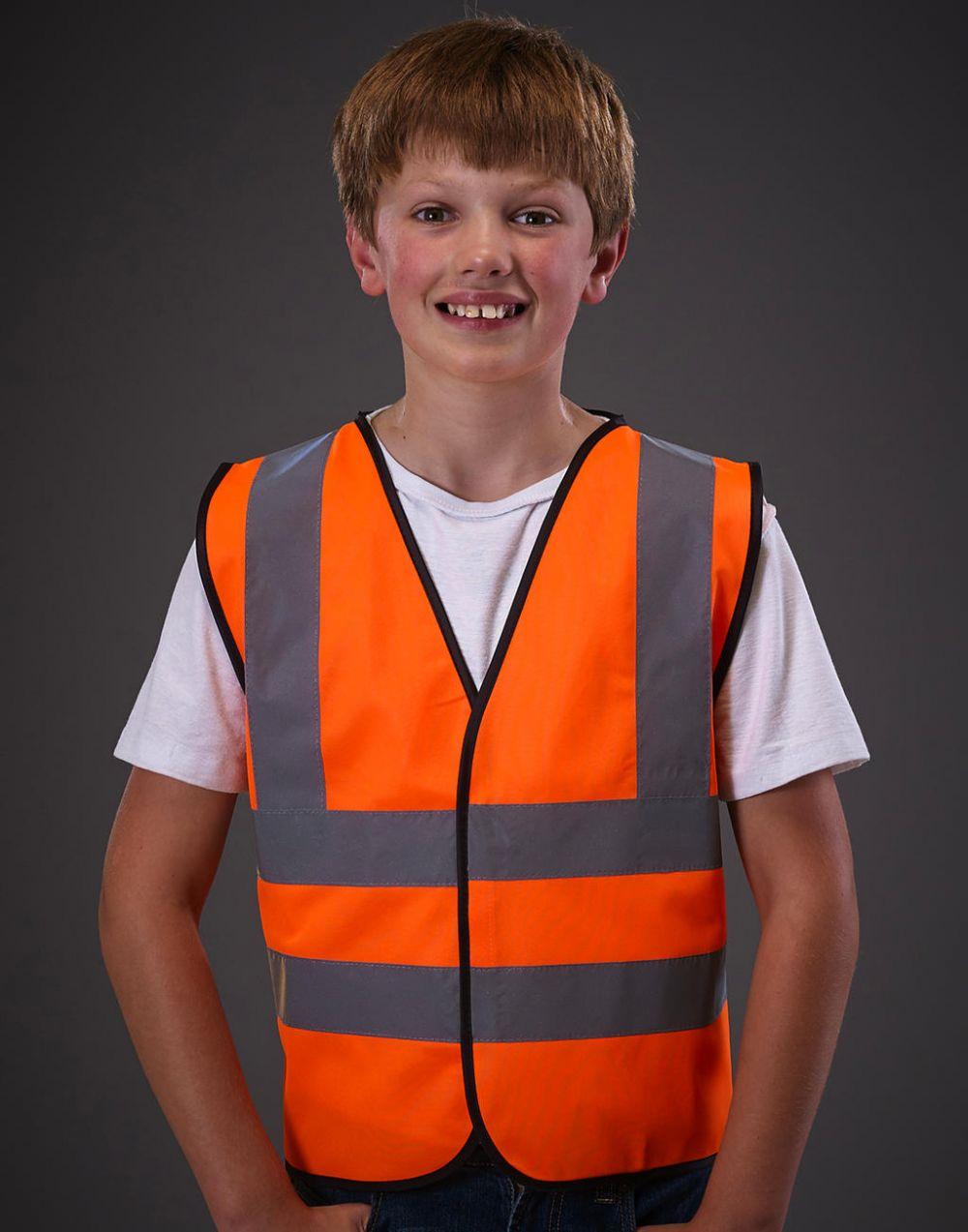 Chalecos reflectantes yoko de seguridad fluo niño vista 1