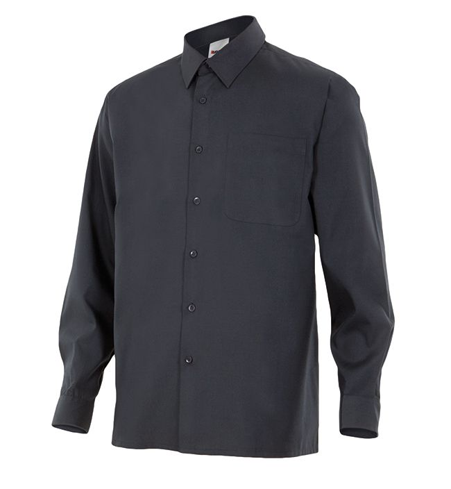 Camisas de trabajo velilla manga larga un bolsillo de algodon con impresión vista 1