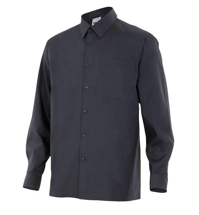 Camisas de trabajo velilla manga larga un bolsillo de algodon con logo imagen 1