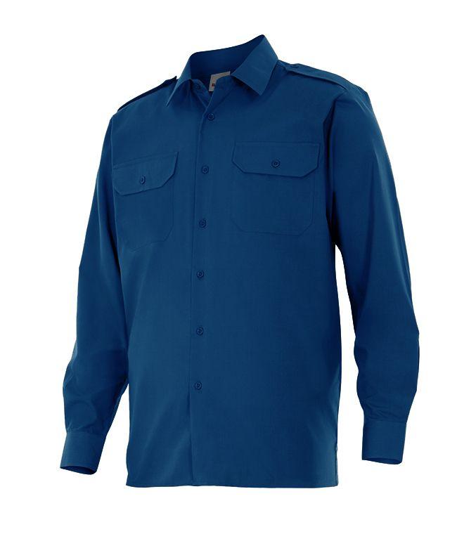 Camisas de trabajo velilla manga larga con galoneras de algodon con impresión vista 1