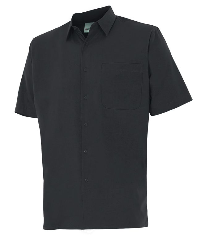 Camisas de trabajo velilla manga corta un bolsillo de algodon con impresión vista 1