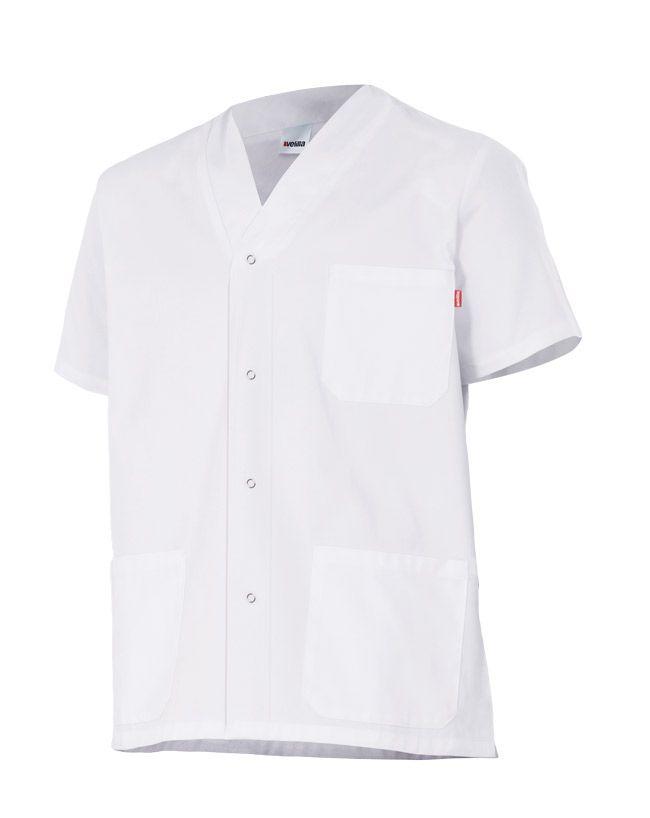 Casacas sanitarias velilla pijama con automáticos manga corta de algodon vista 1