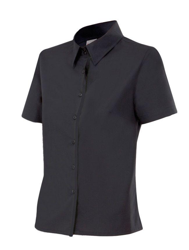 Camisas de trabajo velilla mujer manga corta de algodon con impresión vista 1