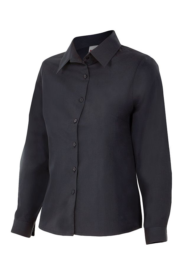 Camisas de trabajo velilla mujer manga larga de algodon con impresión vista 1