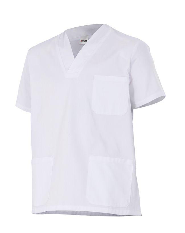 Casacas sanitarias velilla camisola de pijama de color blanco manga corta de algodon con impresión vista 1