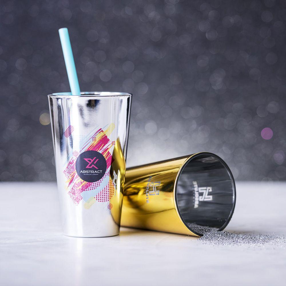 Vasos para llevar raptol de cristal para publicidad vista 2