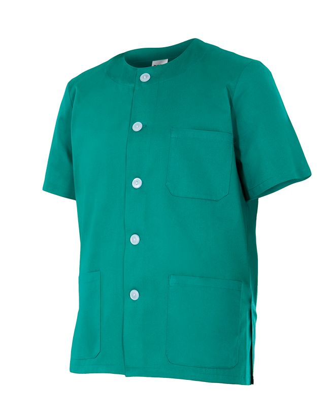 Casacas sanitarias velilla pijama manga corta de algodon con logotipo imagen 1