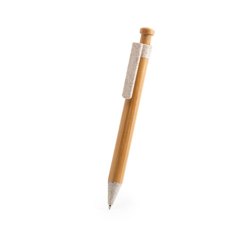 Bolígrafos larkin de caña de trigo ecológico con logo vista 2