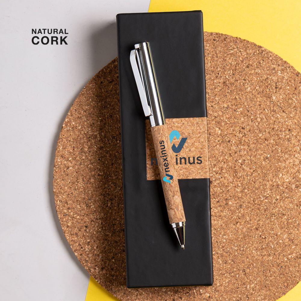 Bolígrafos vamet de corcho ecológico con logo vista 2