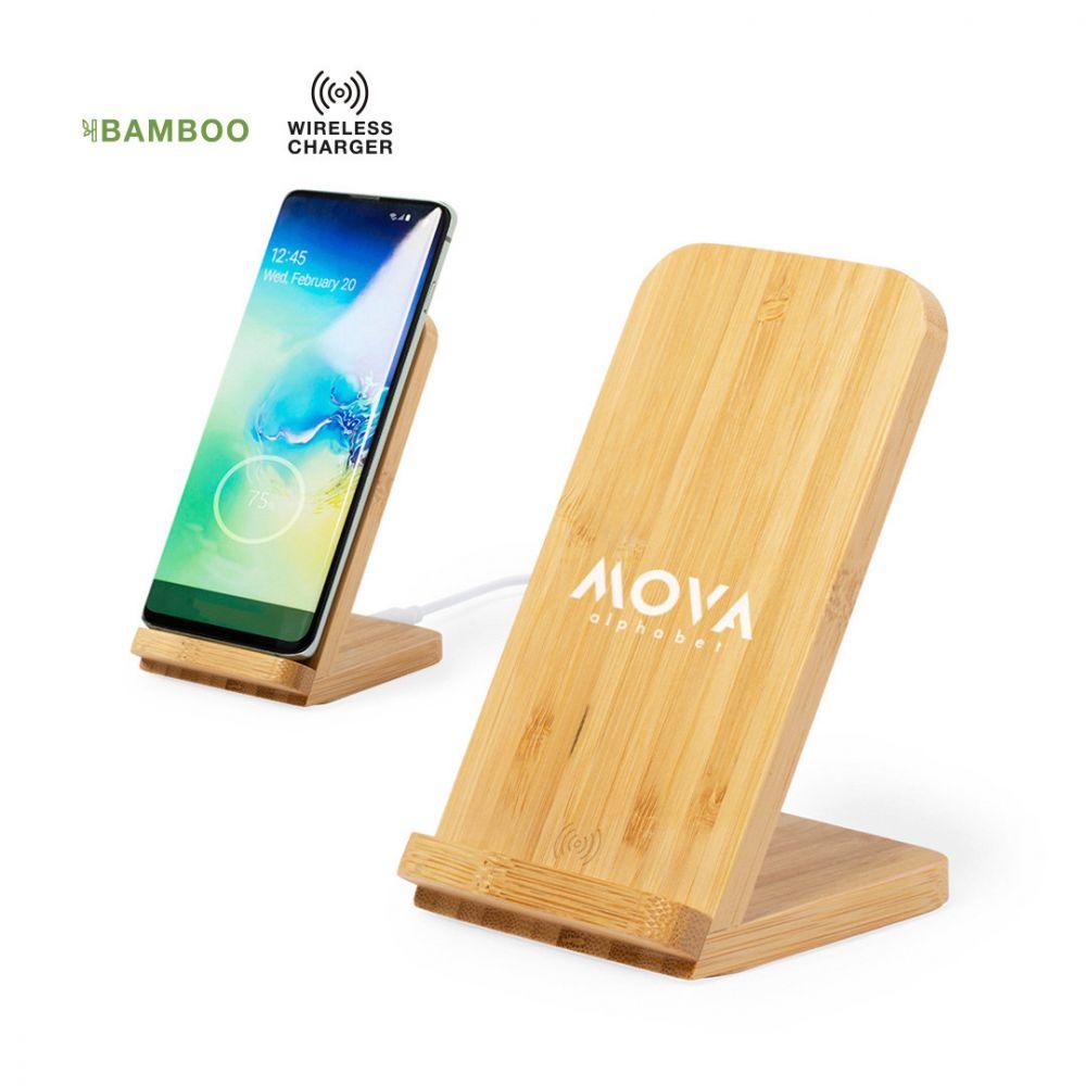Cargadores inalambricos dimper de bambú ecológico con publicidad vista 3