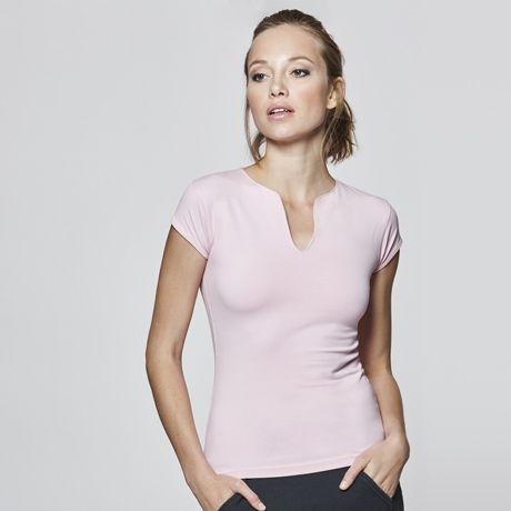 Camisetas manga corta roly belice mujer de algodon con publicidad vista 1