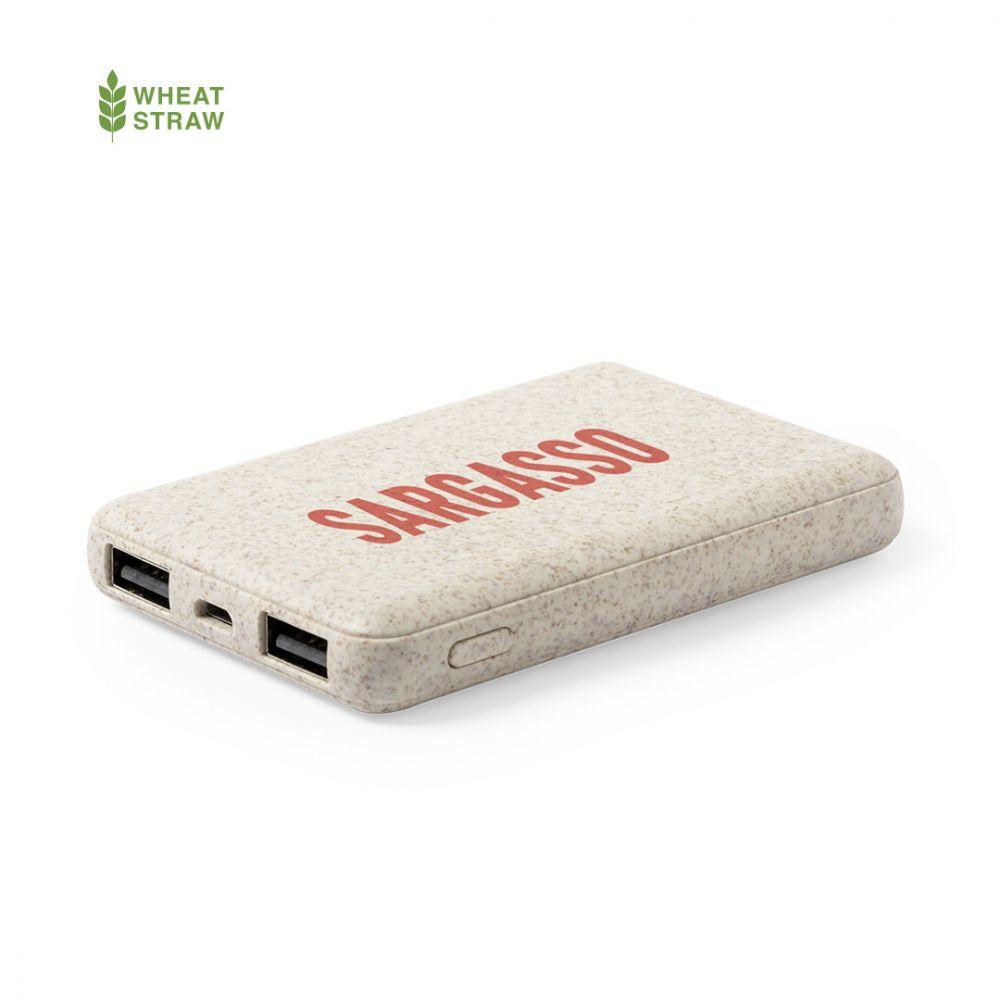Baterias power bank shiden de caña de trigo ecológico con publicidad vista 2