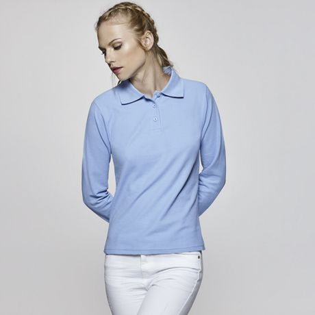 Polos manga larga roly estrella ls mujer de 100% algodón con logo vista 1