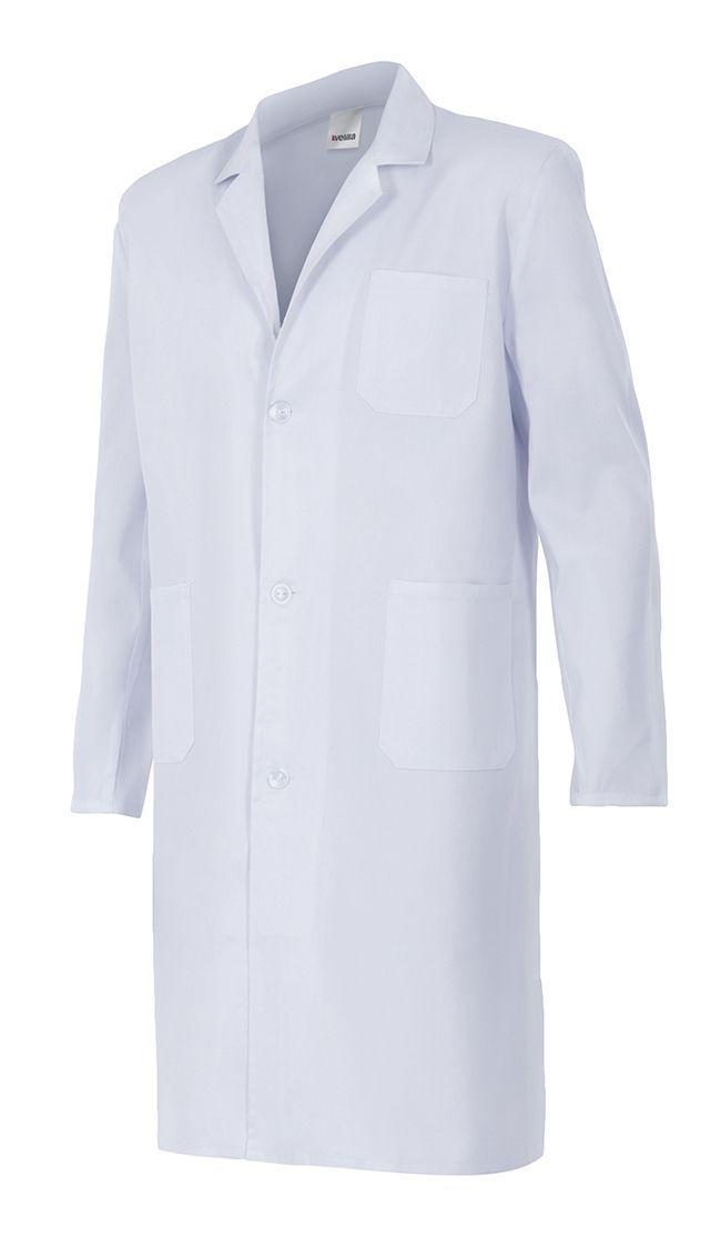 Batas sanitarias velilla blanca de sarga con bolsillo de algodon con impresión vista 1