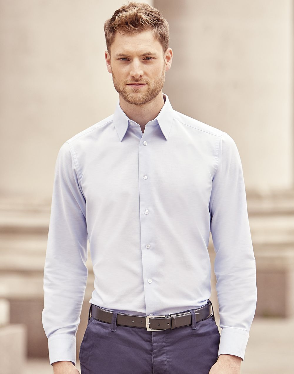 Camisas manga larga russell oxford de manga larga hombre para personalizar imagen 6