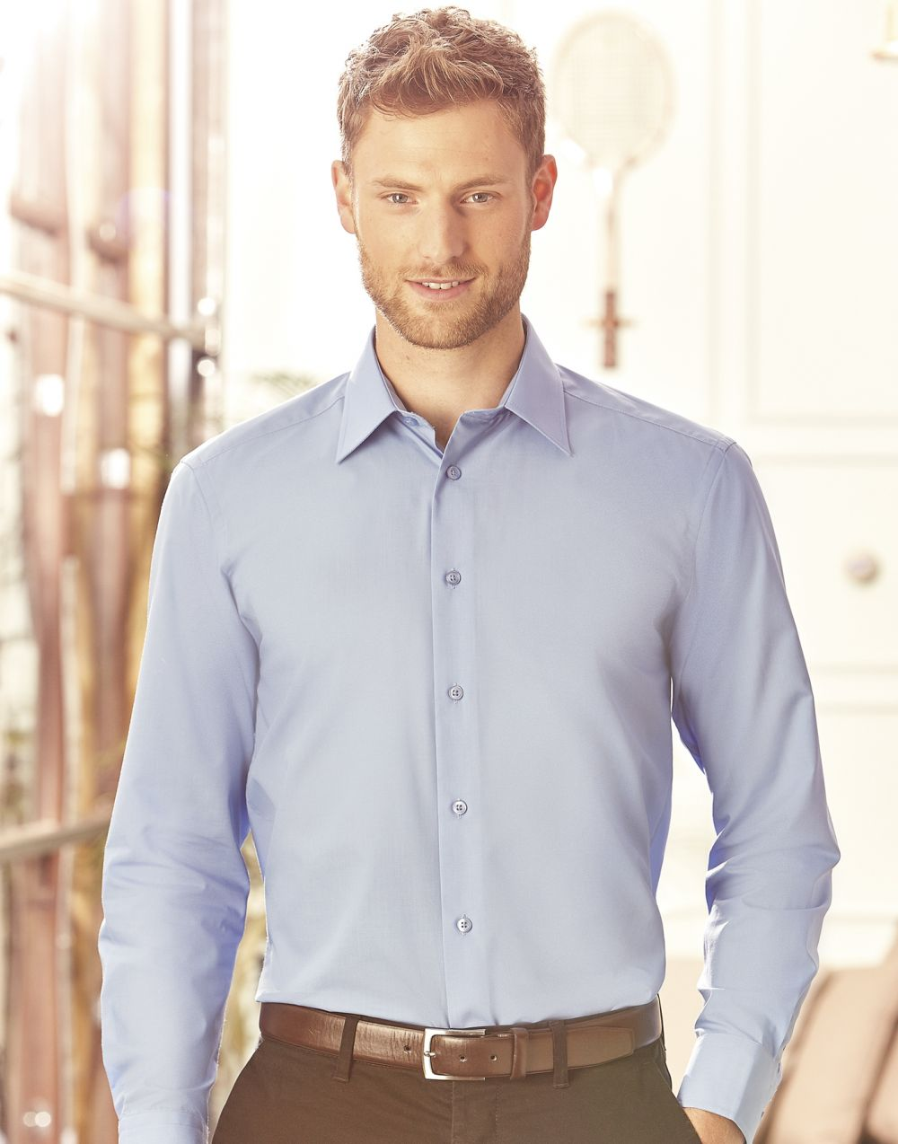 Camisas manga larga russell popelina manga larga hombre vista 4