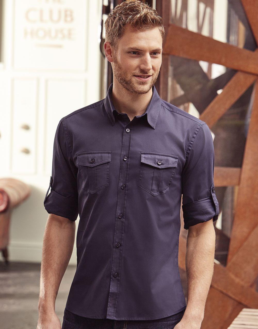 Camisas manga larga russell manga arremangada con bolsillos hombre con logo vista 6