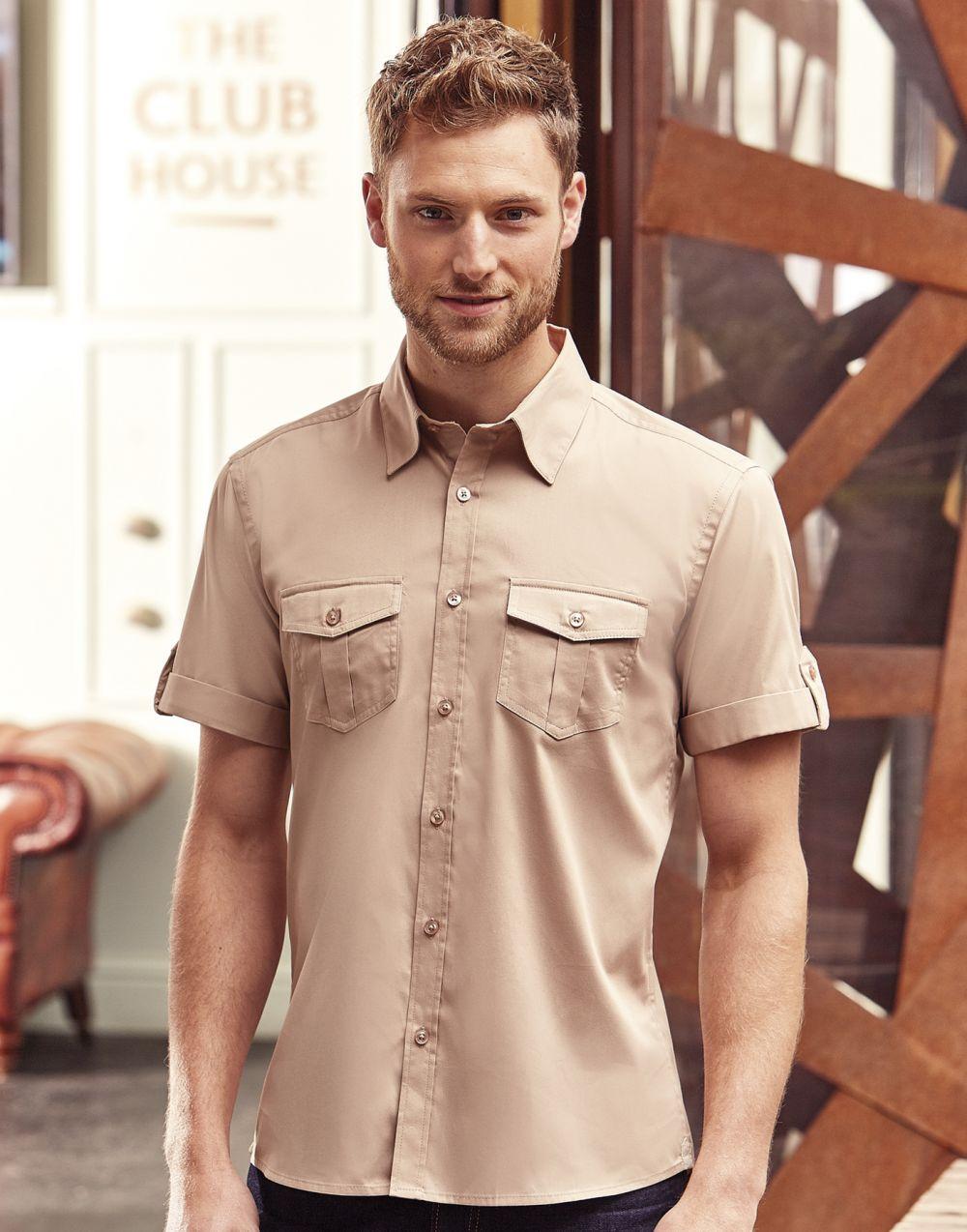 Camisas manga corta russell manga doblada con bolsillos hombre con impresión imagen 2