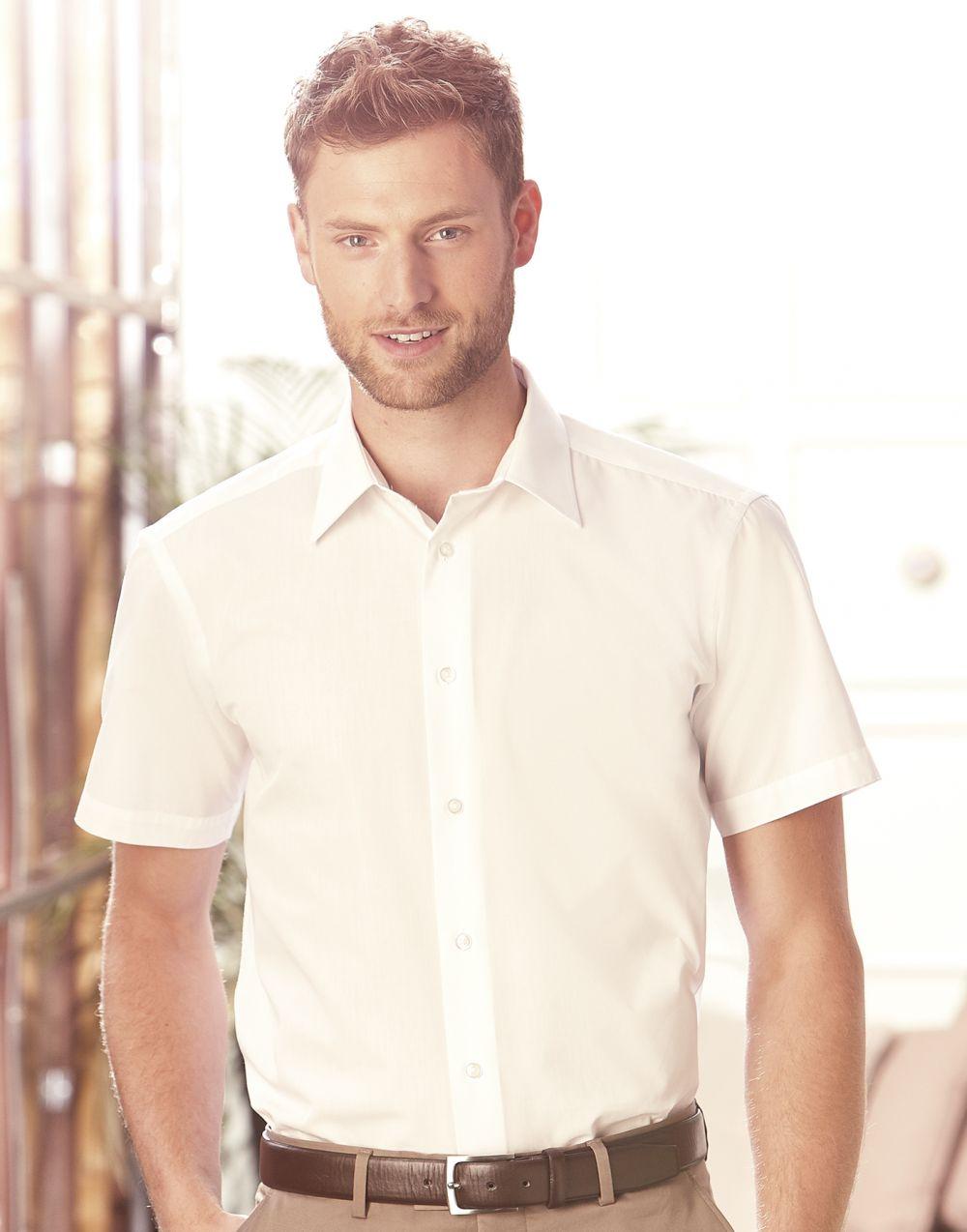 Camisas manga corta russell popelin manga corta hombre para personalizar vista 1